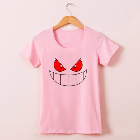 Pink Tshirt for Women - Pokemon Gengar style