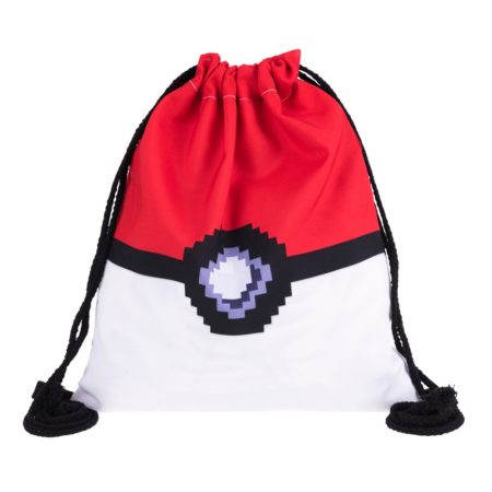 Pokeball 3D Pixel Ball Drawstring Backpack 4