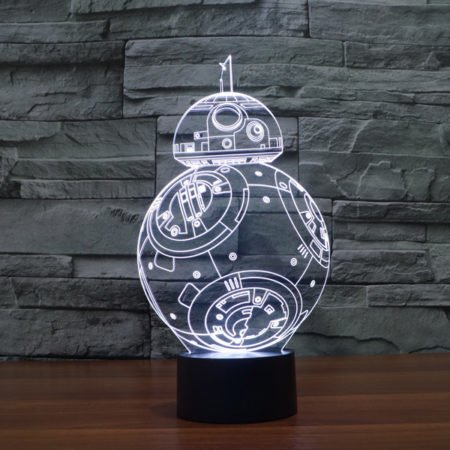 white 3d lamp bb 8 star wars